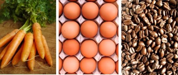 ¿zanahorias, huevos o café?